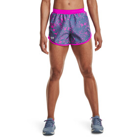 Under Armour Fly By 2.0 Printed Shorts Women, mineral blue-meteor pink